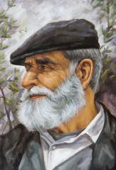 olio su tela di un vecchio con barba e coppola