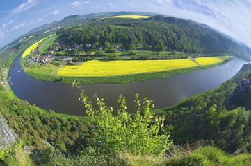 View to Saxon Switzerland from Bastei, Rathen, Germany.