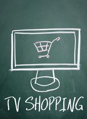 tv shopping sign on blackboard