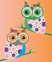 et stickers owl animal nature orange