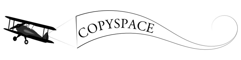 Flieger mit Copyspace-Banner