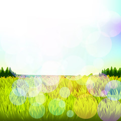 Abstract background with grass and bokeh. Raster. 3