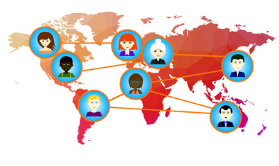 World map with icons of people. Raster. 1