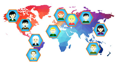 World map with icons of people. Raster. 2