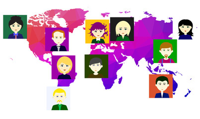World map with icons of people. Raster. 4