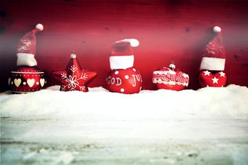 Weihnachtskarte - Weihnachtskugeln - retro