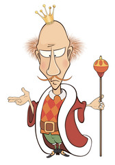 A cartoon illustration of a king with a scepter