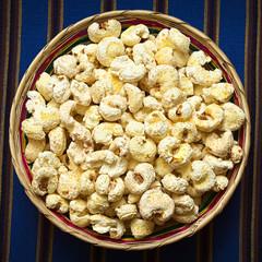 Sweetened popped white corn called Pasancalla, Bolivian snack