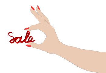 """Female hand holding the word """"sale"""".."""