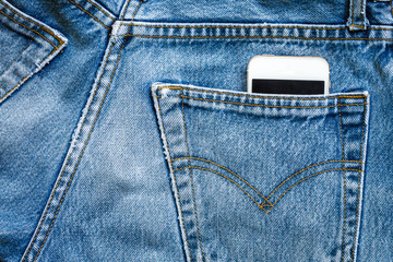 jeans bag with mobile smart phone
