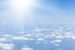 Blue sky with clouds and sun - 78215804