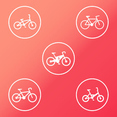 Electric Bike and other bikes white round icons vector, eps10