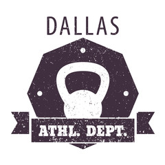 Dallas Athletic dept. t-shirt grunge design with kettlebell