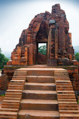 MySon temple red bricks in cloudy weather Vietnam