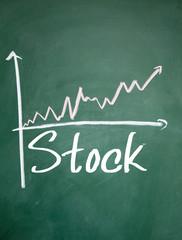 stock growth chart sign on blackboard
