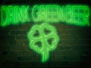 Neon Sign Drink Green Beer Green