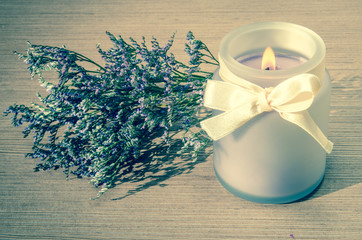 levander candle and dry flowers