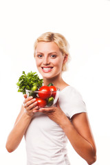 close up, females face and salad bowl with variety of fresh raw