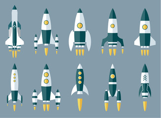 Set of Various Rocket Spaceship