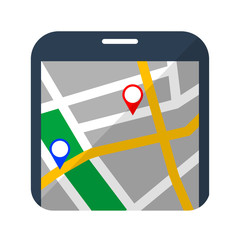 Icono mapa en smartphone