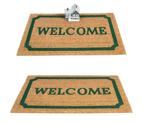 Brown coir doormat with text Welcome isolated on white backgroun