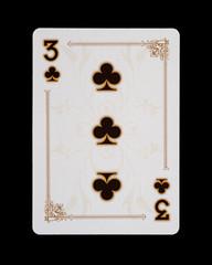 Spielkarten - Poker - Kreuz Drei im Spiel