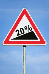 Photo realistic '20% slope' sign