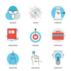 Creative design elements line icons set