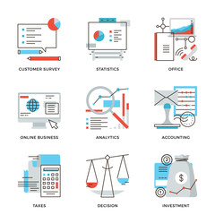 Business and finance accounting line icons set