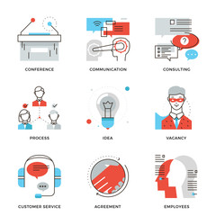 Corporate occupation elements line icons set