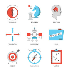Strategy and tactics line icons set
