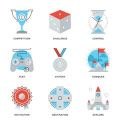 Leadership elements line icons set