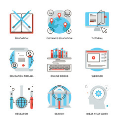 Global education elements line icons set