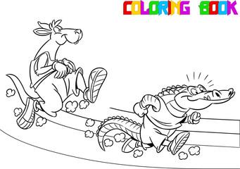 kangaroo and crocodile on the treadmill