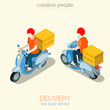 Scooter delivery man flat 3d web isometric infographic concept - 78219854