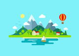 Travel mountains island landscape and sailing color flat concept