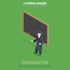 Graduation learning flat 3d web isometric infographic concept