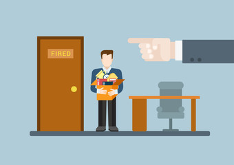 You are fired flat modern trendy stylish concept illustration