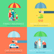 4-in-1 insurance business modern flat set concept icons - 78220218