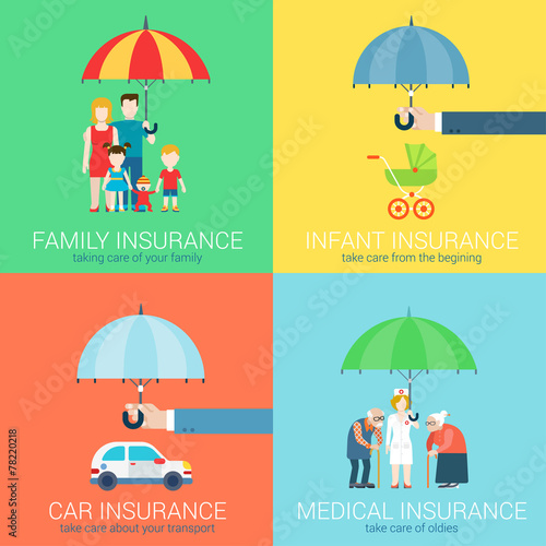 4-in-1 insurance business modern flat set concept icons