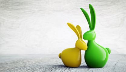 Osterhasen-Paar gelbgrün