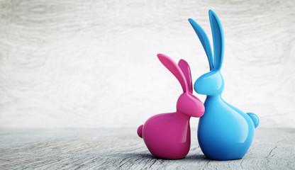 Osterhasen-Paar pinkblau