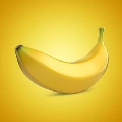 Banana fruit on yellow background. 3D illustration