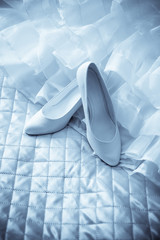 dress and shoes of bride