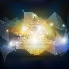 Abstract 3D pyramid, geometric colorful triangle design