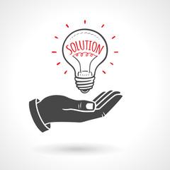 Hand Giving Light Bulb solution Idea Concept