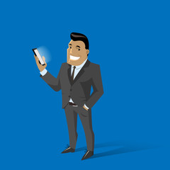 Cartoon man in a business suit with mobile telephone