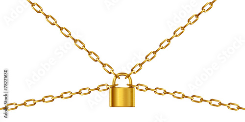 Golden chain and padlock, isolated on white - 78221630