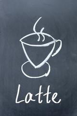 coffee icon drawn with chalk on  blackboard