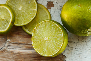 Juicy lime on the old table